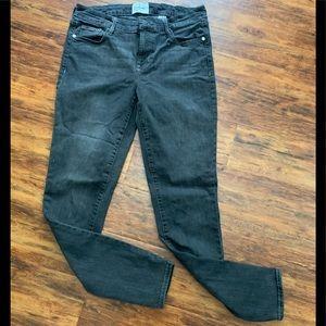 Dark gray stretch straight leg jeans #jeans